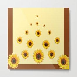 RAINING SUNFLOWERS FLOWERS CREAMY BROWN ART Metal Print