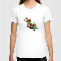 roller derby T-shirts featuring Roller Derby Dinosaurs by Jez Kemp