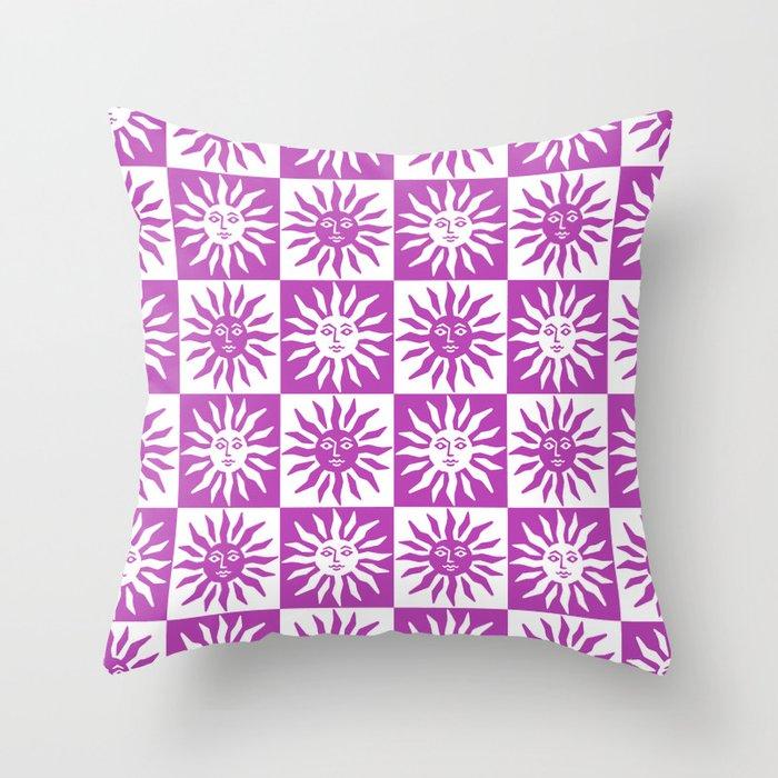 Mid Century Modern Sun Pattern Magenta Throw Pillow