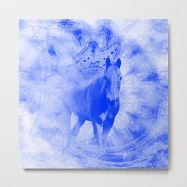 Blue pegasus in mysterious mandala landscape Metal Print