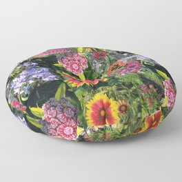 Floral Collage Floor Pillow