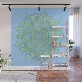 Blue and Green Flower Mandala Wall Mural