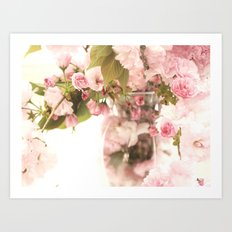 Shabby Chic Cottage Pink White Blossoms Floral Print Home Decor Art Print