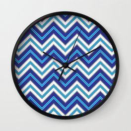 Chevron Pattern | Zig Zags | Blue, Black and White | Wall Clock