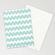 Mint Chevron Stationery Cards