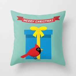 Cute Red Cardinal With Blue Gift - MERRY CHRISTMAS Throw Pillow
