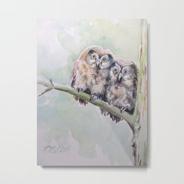 TWO CUTE OWLS Wildlife birds in the forest Watercolor painting Metal Print