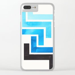 Cerulean Blue Aztec Pattern Mid-century Modern Simple Geometric Pattern Watercolor Minimalist Art Sq Clear iPhone Case