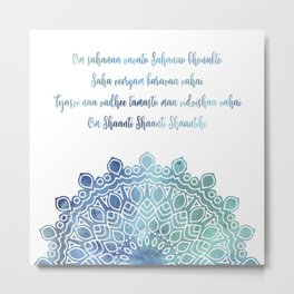 Watercolor Om Shaanti Yoga Opening Prayer Mandala Metal Print