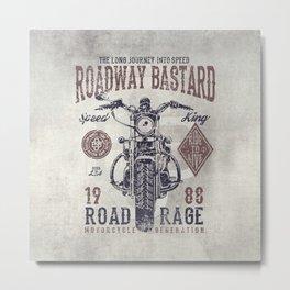 Vintage Motorcycle Poster Style Metal Print