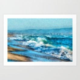 Sea Waves Aquarelle  Art Print