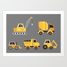 Construction Trucks on Gray Art Print