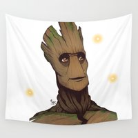 groot Wall Tapestries featuring Groot by Ryan James Art
