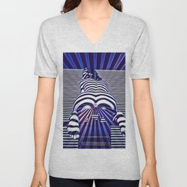 2519s-JPC Blue Striped Nude Woman From Behind Unisex V-Neck