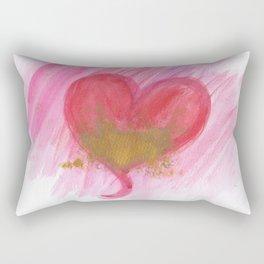 Golden heart Valentines card Rectangular Pillow