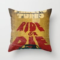 marauders Throw Pillows featuring MEKANO TURBO/ride or die poster by alexis ziritt