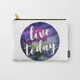 Live for Today Galaxy Typography Watercolor Quote Carry-All Pouch
