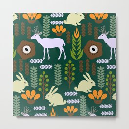 A garden with bunnies and deer Metal Print