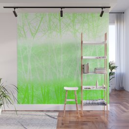 Frosted Winter Branches in Lime Green Wall Mural