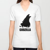 godzilla V-neck T-shirts featuring Godzilla by Nick Kemp