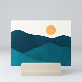 Teal Mountains / Minimalist Landscape Mini Art Print