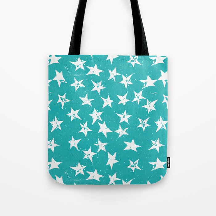 Linocut Stars - Verdigris & White Tote Bag