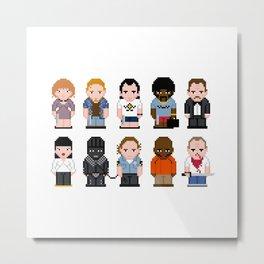 Pixel Pulp Fiction Characters Metal Print