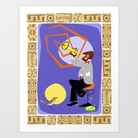 louis armstrong Art Prints featuring Louis Armstrong - Sachmo! by Moirarae