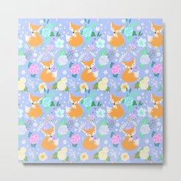 Cute fox flower pattern Metal Print