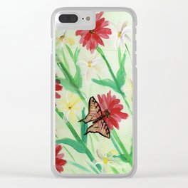 Daisies Butterflies Katydid Red Green and White Clear iPhone Case