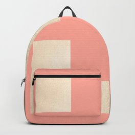 Simply Geometric White Gold Sands on Salmon Pink Backpack