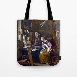 Jan Steen The Drawing Lesson Tote Bag
