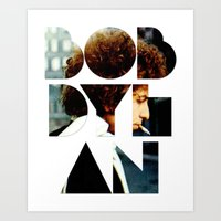 font Art Prints featuring Bob Dylan Font Colour by Fligo