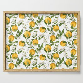 Citrus OrangeTree Branches with Flowers and Fruits Serving Tray