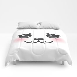 Kawaii funny albino animal white muzzle with pink cheeks and big black eyes Comforters