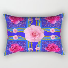 BLUE  GEOMETRIC ART CERISE & PINK FUCHSIA ROSES Rectangular Pillow