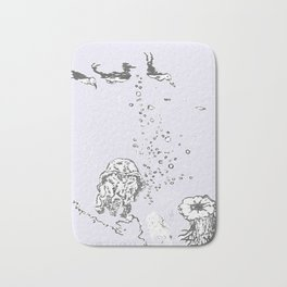Two Tailed Duck and Jellyfish Lavender Bath Mat