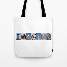 IMAGINE photo letter art typography Tote Bag