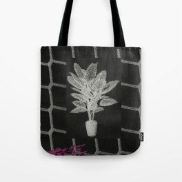 Strong Saints - Magic Dark collage with key, saints, net, shells, plants and grid Tote Bag
