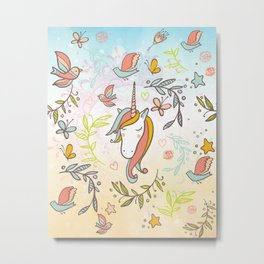 Pastel Vintage Dreams Unicorn - Illustrated unicorn with birds and butterflies Metal Print