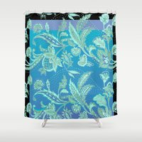 art nouveau Shower Curtains featuring art nouveau bluet by Ariadne