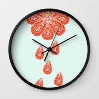 henna Wall Clocks featuring Henna Shower by Neela