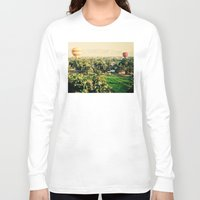 hot air balloons Long Sleeve T-shirts featuring Hot Air Balloons Before Mountains  by Limitless Design