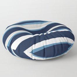 Ocean Beach Striped Landscape, Navy, Blue, Gray Floor Pillow