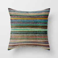 striped Throw Pillows featuring Striped by Sharon Johnstone