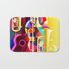 Colorful music instruments with guitar, trumpet, musical notes, bass clef and abstract decor Bath Mat
