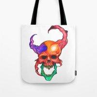 rasta Tote Bags featuring RASTA DEMON by The Anti-Dan Artwork