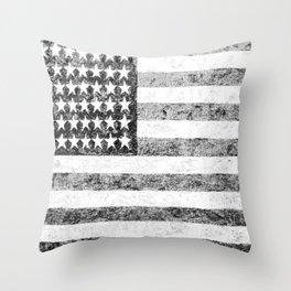 Grunge American Flag Throw Pillow