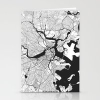 boston map Stationery Cards featuring Boston Map Gray by City Art Posters