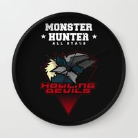 monster hunter Wall Clocks featuring Monster Hunter All Stars - Howling Devils by Bleached ink
